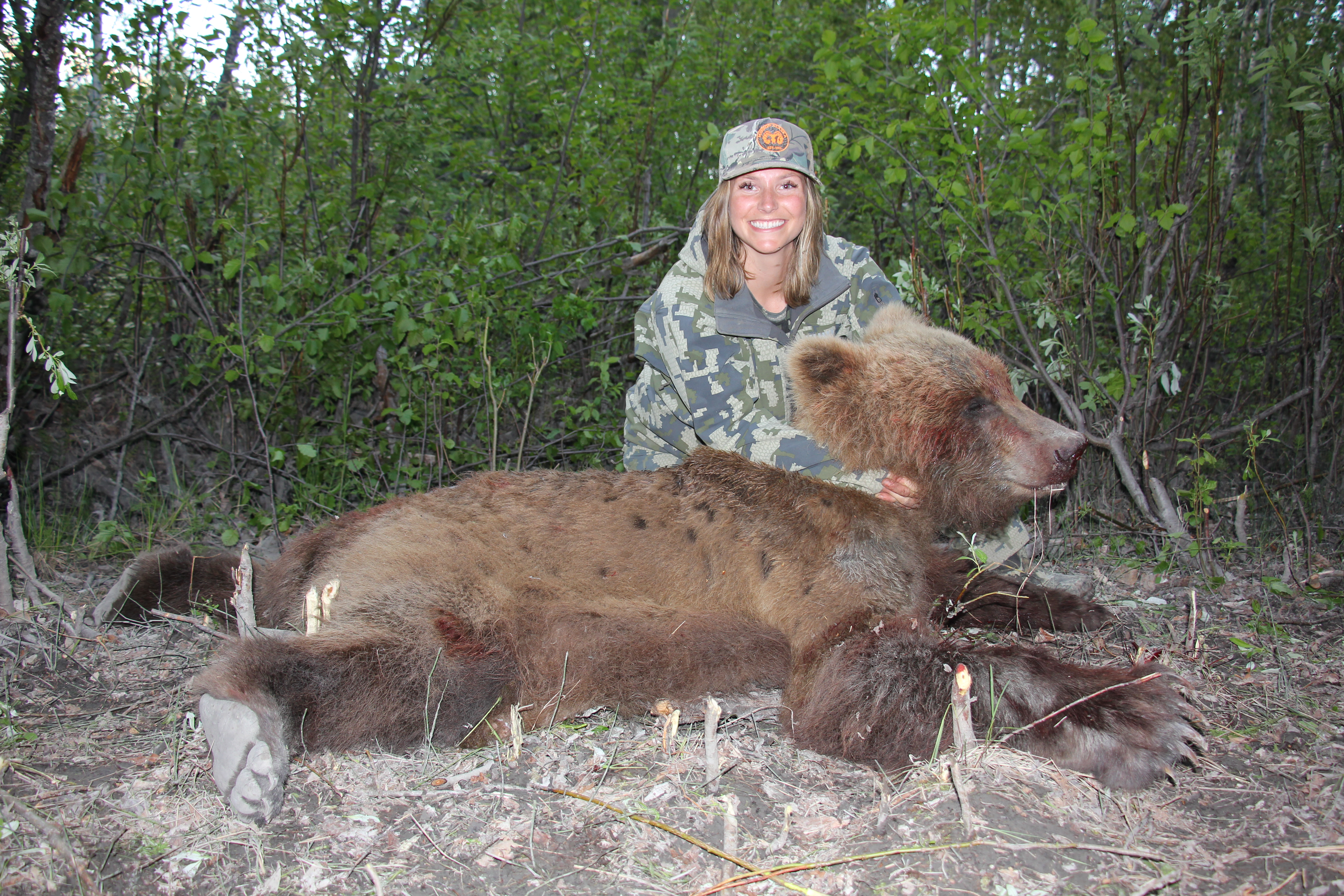 Jordan Manelick with her first bear